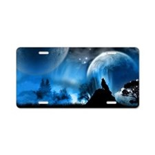 Wolf at Midnight Aluminum License Plate
