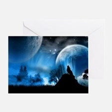Wolf at Midnight Greeting Card