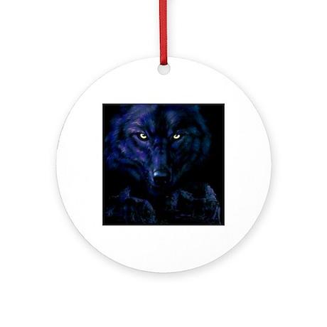 Midnight Wolf Round Ornament