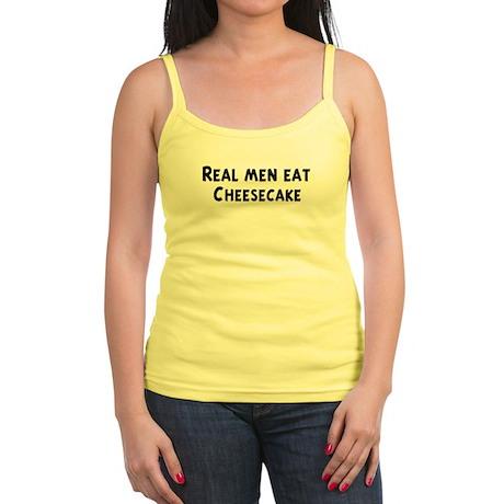 Men eat Cheesecake Jr. Spaghetti Tank