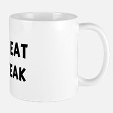 Men eat Cheese Steak Mug