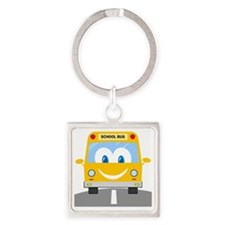 happy smiling school bus cartoon Square Keychain