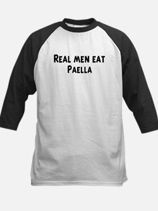 Men eat Paella Kids Baseball Jersey