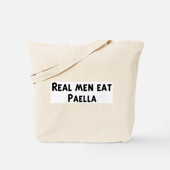 Men eat Paella Tote Bag