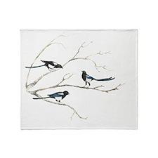 Watercolor Magpie Bird Family Animal Throw Blanket