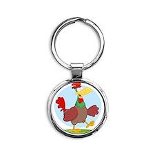 funny rooster chicken Round Keychain
