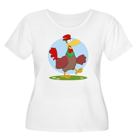 funny rooster Women's Plus Size Scoop Neck T-Shirt