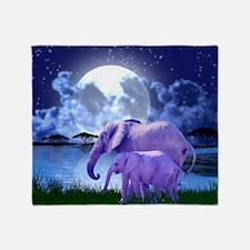 Contemplative Elephants Throw Blanket
