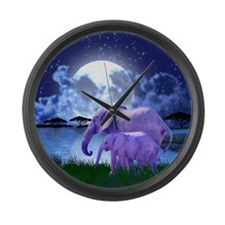 Contemplative Elephants Large Wall Clock