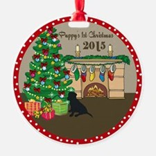 2015 Black Lab 1St Christmas Ornament