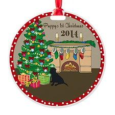 2014 Black Lab 1St Christmas Ornament