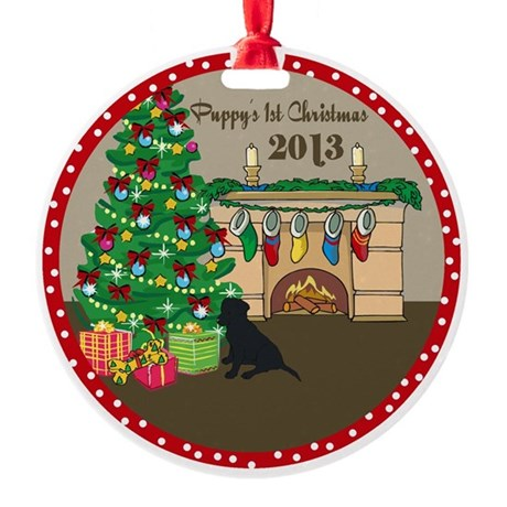 2013 Black Lab 1St Christmas Round Ornament