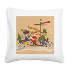 Vintage Christmas, Santa Clau Square Canvas Pillow