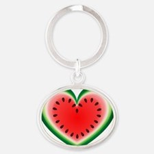 Watermelon Heart Oval Keychain