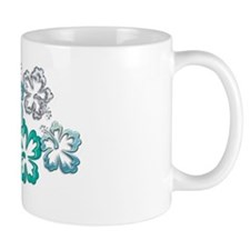 Aqua Hibiscus Blooms Small Mugs