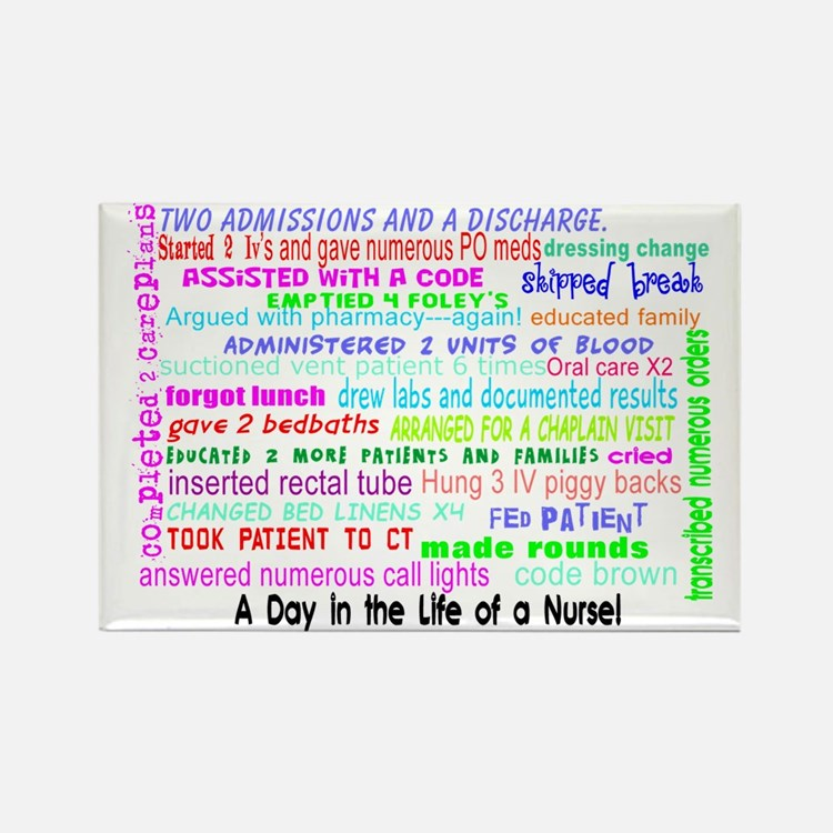 a day in the life of a nurse 3 Rectangle Magnet