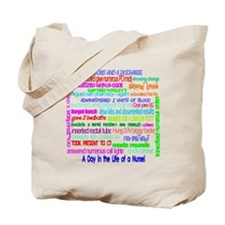 a day in the life of a nurse large Tote Bag