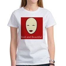 Bald and Beautiful on red Tee