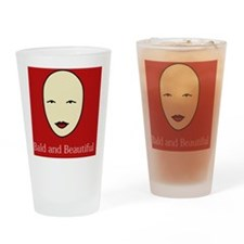 Bald and Beautiful on red Drinking Glass