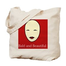 Bald and Beautiful on red Tote Bag