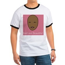 Bald and Beautiful on pink T