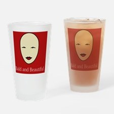 Bald is Beautiful on red Drinking Glass