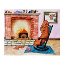 Dachshunds by the Hearth Throw Blanket