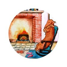 "Dachshunds by the Hearth 3.5"" Button"