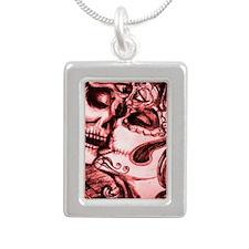 Amor De Calaveras Silver Portrait Necklace