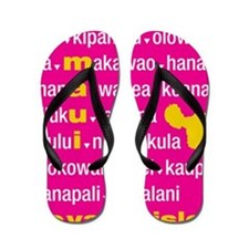 Maui Island Pink Type Print Flip Flops