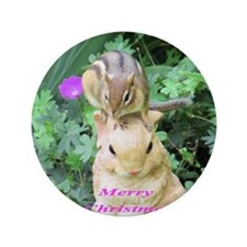 "Chipmunk and garden bunny 3.5"" Button"