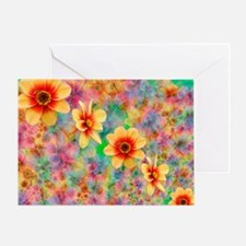 Hippie Psychedelic Flower Pattern Greeting Card