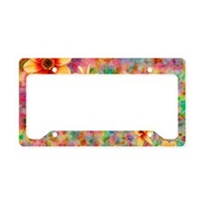 Hippie Psychedelic Flower Pat License Plate Holder