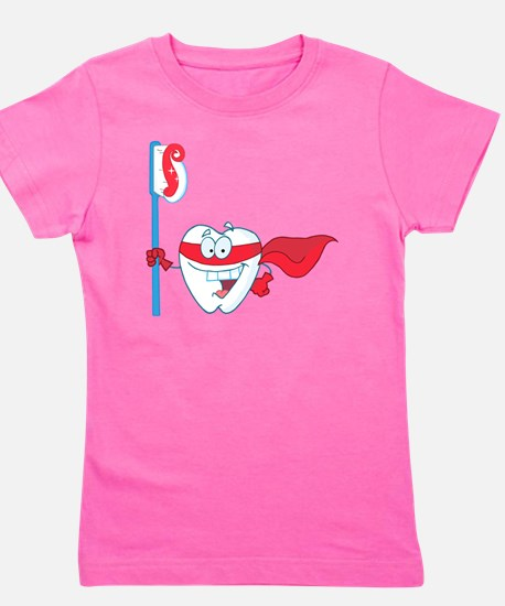 superhero tooth with toothbrush Girl's Tee