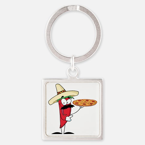 funny chili pepper holding pizza Square Keychain