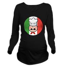 italian chef design Long Sleeve Maternity T-Shirt