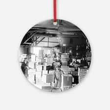 Bootleg Whiskey Warehouse Round Ornament