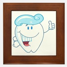 happy tooth cartoon with toothpaste Framed Tile