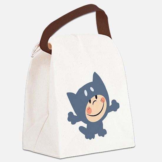cute kid in cat costume Canvas Lunch Bag