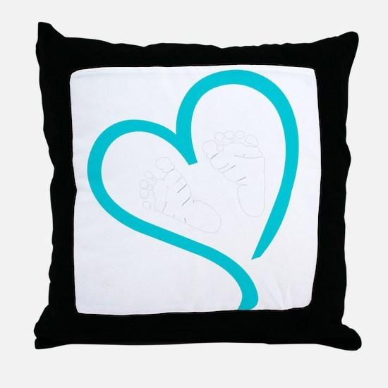 Baby Feet Heart Blue Throw Pillow