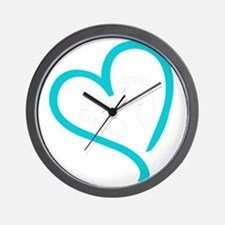 Baby Feet Heart Blue Wall Clock