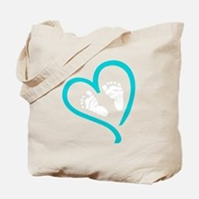 Baby Feet Heart Blue Tote Bag