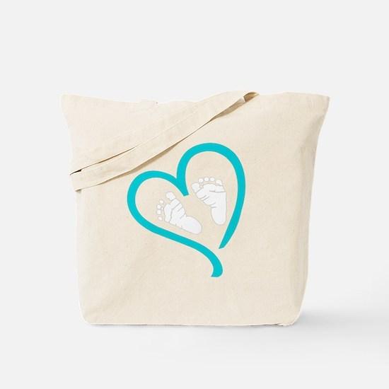 Baby Feet Heart Blue Tote Bag