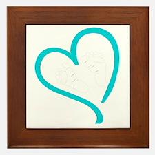 Baby Feet Heart Blue Framed Tile
