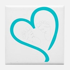 Baby Feet Heart Blue Tile Coaster