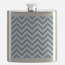 Carolina Blue and White Chevrons Pattern Flask