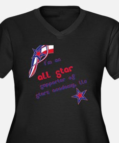 Starz Academ Women's Plus Size Dark V-Neck T-Shirt