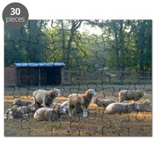 Horned Dorset Sheep Barn Scene early AM Puzzle