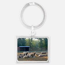 Horned Dorset Sheep Barn Scene  Landscape Keychain