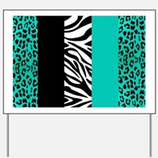 Teal Blue Animal Print Stripes Zebra Leo Yard Sign